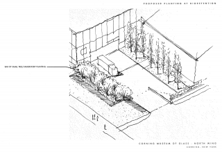 Proposed sketch of the bioretention area outside of the Contemporary Art + Design Galleries